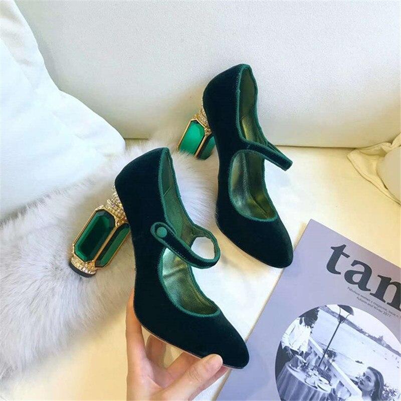Knsvvli/туфли на высоком каблуке с Т образным ремешком, украшенные кристаллами; женские туфли для торжеств на каблуке с пряжкой и драгоценными камнями; женские туфли лодочки; Цвет зеленый, бордовый; бархатная обувь; zapatos mujer - 2