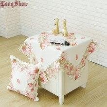 Elegante mantel cuadrado de 85x85cm, tela satinada bordada para mesa, para Festival, Color rosa y amarillo