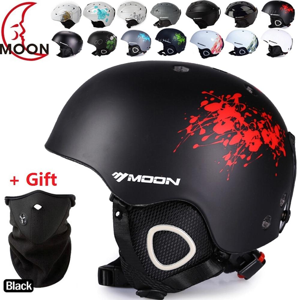 ФОТО MOON Ski helmet Ultralight and Integrally-molded Breathable Snowboard helmet men women Skateboard helmet Multi Color
