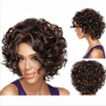 1PC+Free shipping Short wigs For African American Black Women Curl Japanese Kanekalon Fiber U Part Wig Natural Curly Wig 250g