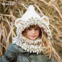 EMS DHL Free Shipping Wholesale New Design Fox Ear Winter Windproof Baby Hats And Scarf Set
