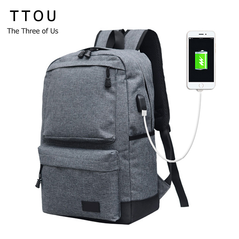 TTOU Women Backpack with USB Charging Port Casual Canvas Travel Backpack Teenagers Student School Bags Simple Laptop Backpack new gravity falls backpack casual backpacks teenagers school bag men women s student school bags travel shoulder bag laptop bags
