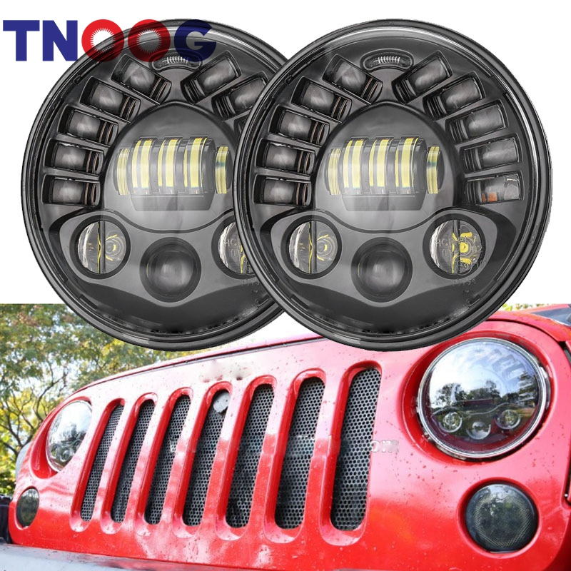 TNOOG For Land Rover Lada 4x4 Hummer H1 7 Inch LED Headlights with White DRL +Amber Turn Signal Light For Jeep Wrangler JK TJ CJ
