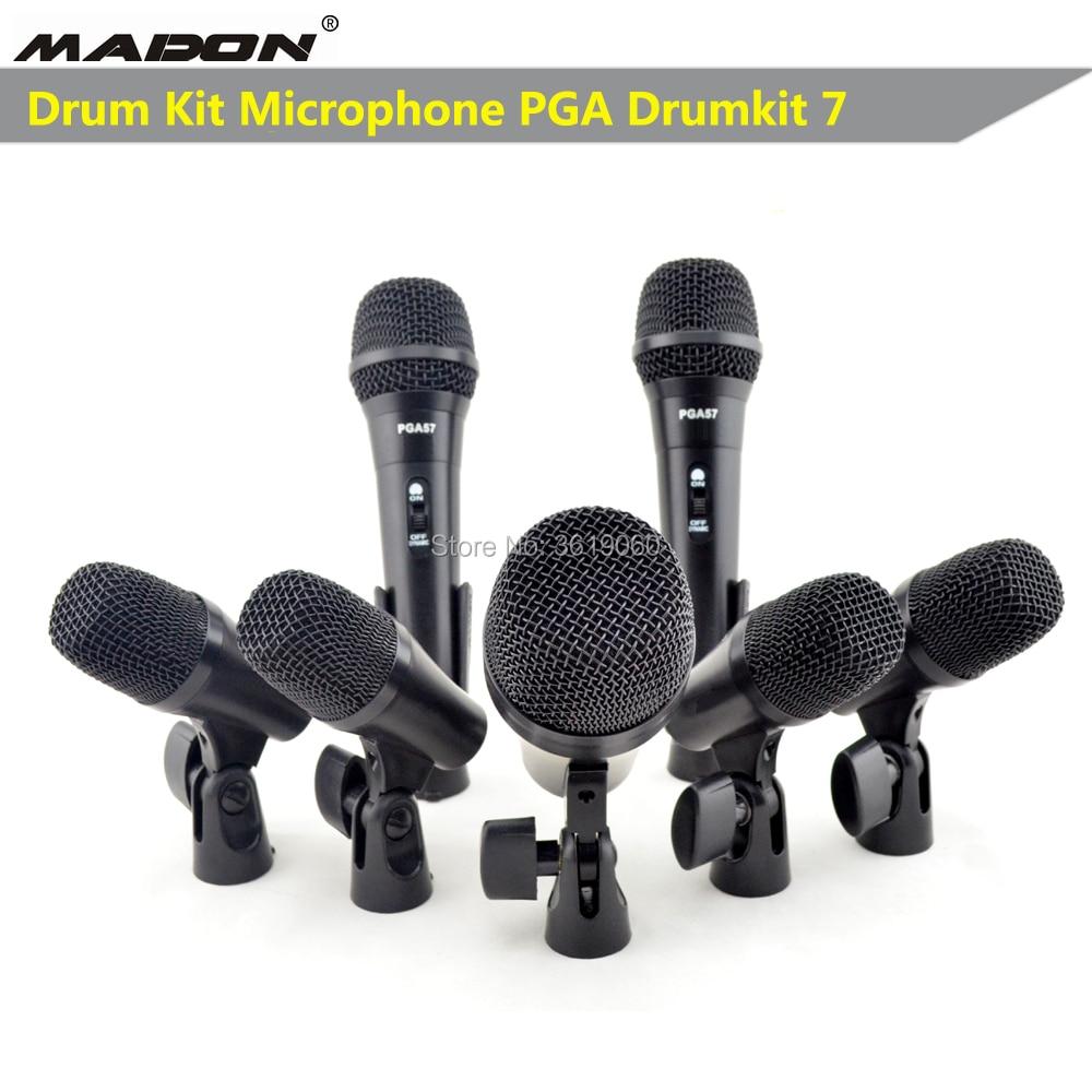 Ücretsiz kargo  PGA DrumKit7 dinamik kablolu mikrofon drumkit mikrofon  PGA52 x 1  PGA56 x 4  PGA57 x 2|Mikrofonlar|Tüketici Elektroniği -