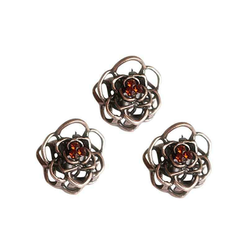 3pcs Vintage Hair Claw Hollowed-out Rose Mini Trumpet Hair Claw Jaw Clip Hair Pin