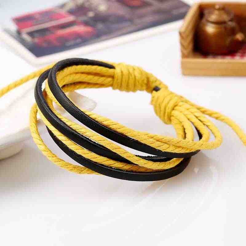 Hand Made Colourful Multilayer  Wristband Cheap Clothing Accessories Jewelry Bracelets Leather Cotton Rope Adjustable Men Women