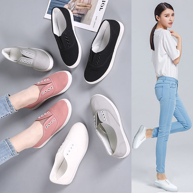 6e0704a2e4bf8 Hot Selling Sneakers Canvas shoes for Women Fashion 2019 Solid Vulcanize  Shoes Girls Zapatillas ...