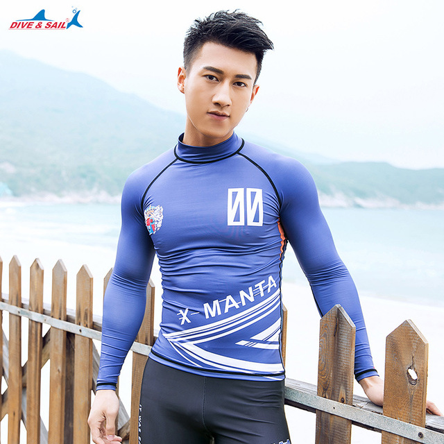 04481a30481498 Men s Rash Guards with Zipper Long Sleeve UV Protection Men s Diving Shirt  Wetsuit Surf Swimming Shirt For Men Zipper Sunscreen