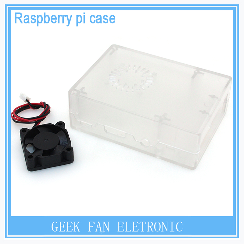 New Raspberry Pi ABS Transparent color case Plastic Box with Fan module For Raspberry Pi 2&Raspberry Pi model b plus&3 RP0012G