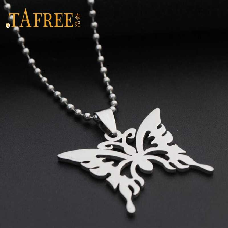 TAFREE Fashion Stainless Steel Pendant Necklace Hollow Butterfly Dragonfly Animal  Chain Pendant Necklace Woman Jewelry SQ014