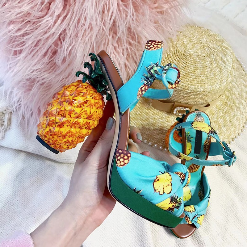 2018 women top quatily genuine leather luxury pineapple heel design style single shoes pineapple print thick-soled high heel pieces палантин page 2