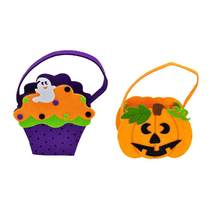 2pcs Halloween Ghost Pumpkin Candy Bag Trick Or Treat Bags Candy Gift Storage Bag Tote (1 Ghost Bag + 1 Pumpkin Bag)(China)