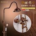 Xogolo Shower Head System Solid Brass with Gold-Plated Color, 8Inch Overhead Shower Coming with Bathtub Faucet and Handshower