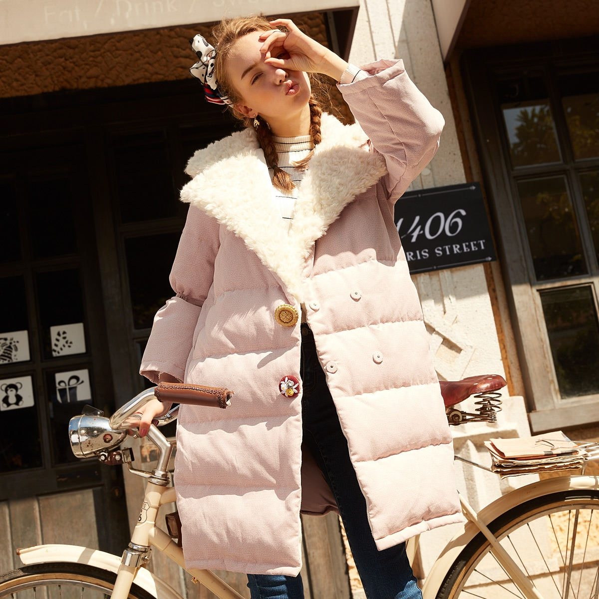 2017 Pink Thick Women Winter Jacket Cotton Padded Coats Casual Warm Winter Coat Turn Collar Long Loose   Parkas   Basic