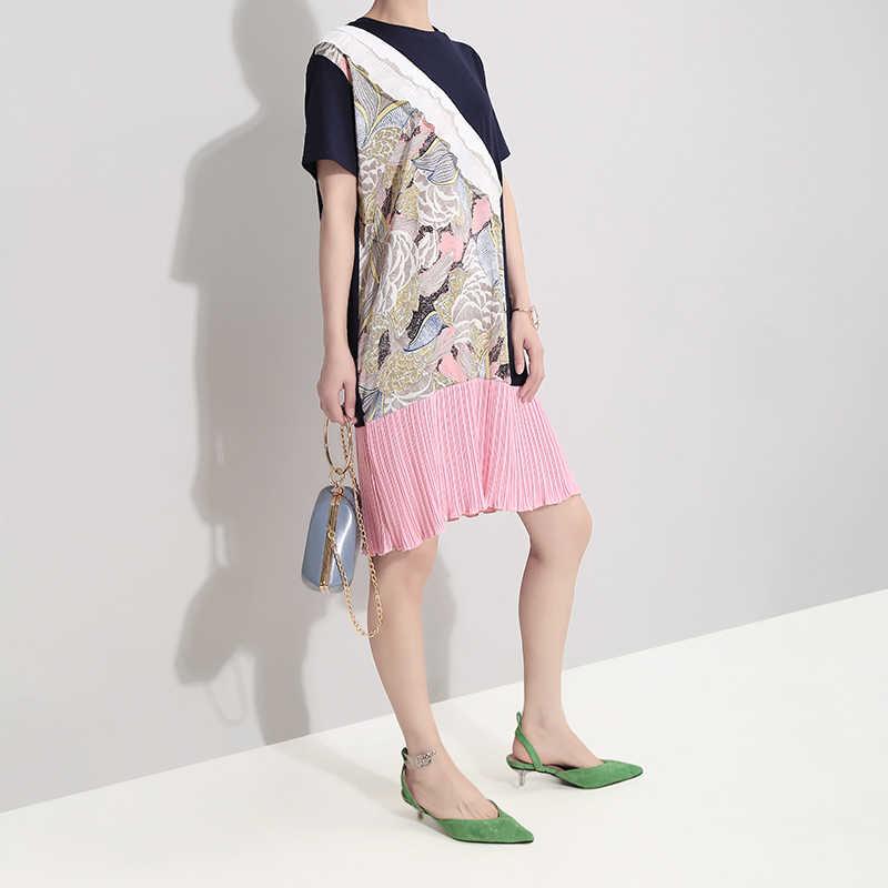 Женское плиссированное платье-рубашка, повседневное свободное голубое мини-платье выше колена с оборками, модель 5090 в корейском стиле на лето, 2019