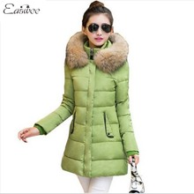 1PC 2016 Winter Jacket Women Cotton Padded Coats Fur Collar Thickening Parkas For Women Winter Coat Jackets BB0011