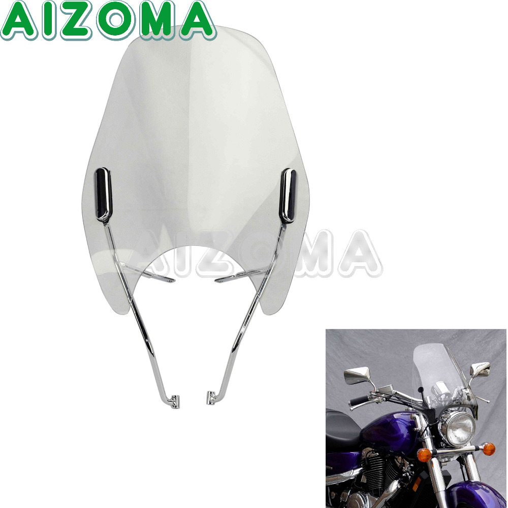 Transparent Windscreen Motorcycle Windshield Wind Deflector w/ Fitting Kit for Honda Shadow 750  VT750 1998-2003