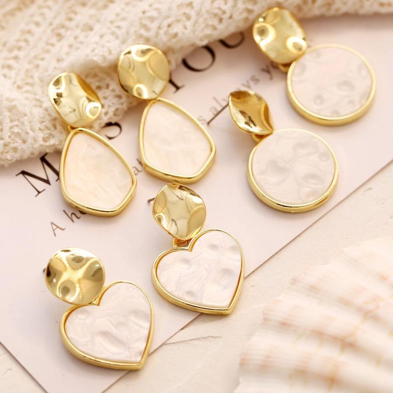 CHENFA korean fashion trendy women 39 s earrings 2019 geometric white earrings for women pendant costume jewelry fashion in Drop Earrings from Jewelry amp Accessories