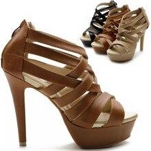 Womens Shoes Platform High Heels Ankle Strap Multi Colored Sandals Brown/Black/Khaki Back Zipper 4.8″ High Heel Open Toe