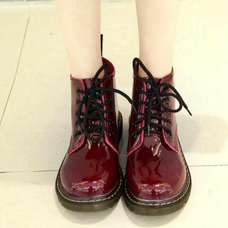 COOTELILI Più Il Formato Botas Stivali di Pelle di Brevetto Delle Donne di Scuola di Stile Lace Up Scarpe Per Le Ragazze Rosso Nero Moto Caviglia BootsM 40