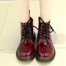 Plus Size40 Cerdo Talón Músculo de la Vaca Botas de Charol Las Mujeres de La Escuela estilo de Encaje Hasta Los Zapatos Para Niñas Rojo Negro de La Motocicleta Botines