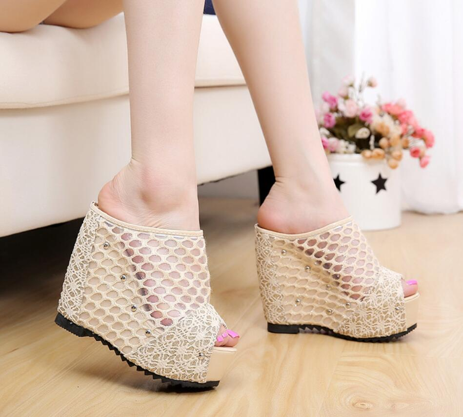 Summer Net yarn High heels Women Wedges Women's Sandals slippers Platform Female Lace Increase mujer Shoes feminina chaussures 2017 summer new fish mouth female sandals breathable net yarn thick bottom glitters high heels casual lace women shoes