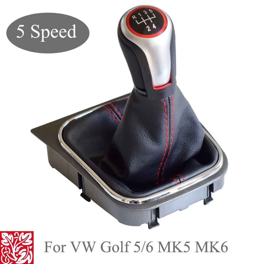 For VW Volkswagen Golf 5/6 MK5/6 Scirocco(2009) octavia Car Gear Shift Knob Lever Pen 5 6 Speed handle ball boot cover Gaitor-in Gear Shift Knob from Automobiles & Motorcycles