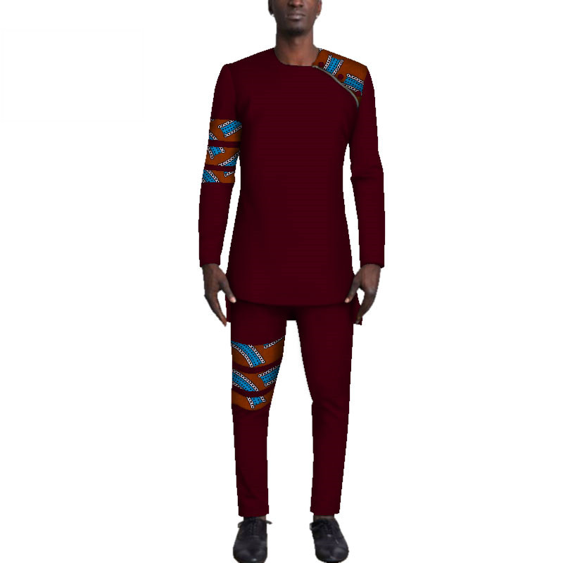 Casual-Mens-African-Clothing-Bazin-Riche-Patchwork-Top-Shirt-and-Pants-for-Men-Custom-100-Cotton(14)