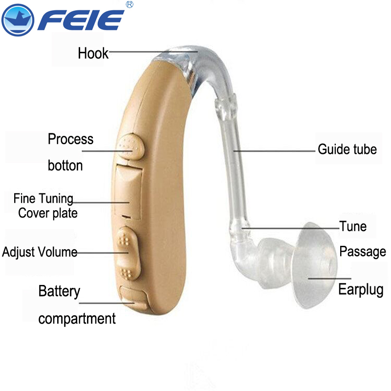 2017 Hearing Aid Mini Clear Sound Amplifiers size 13 hearing aid batteries portable wholesale drop shipping guangzhou feie deaf rechargeable hearing aids mini behind the ear hearing aid s 109s free shipping