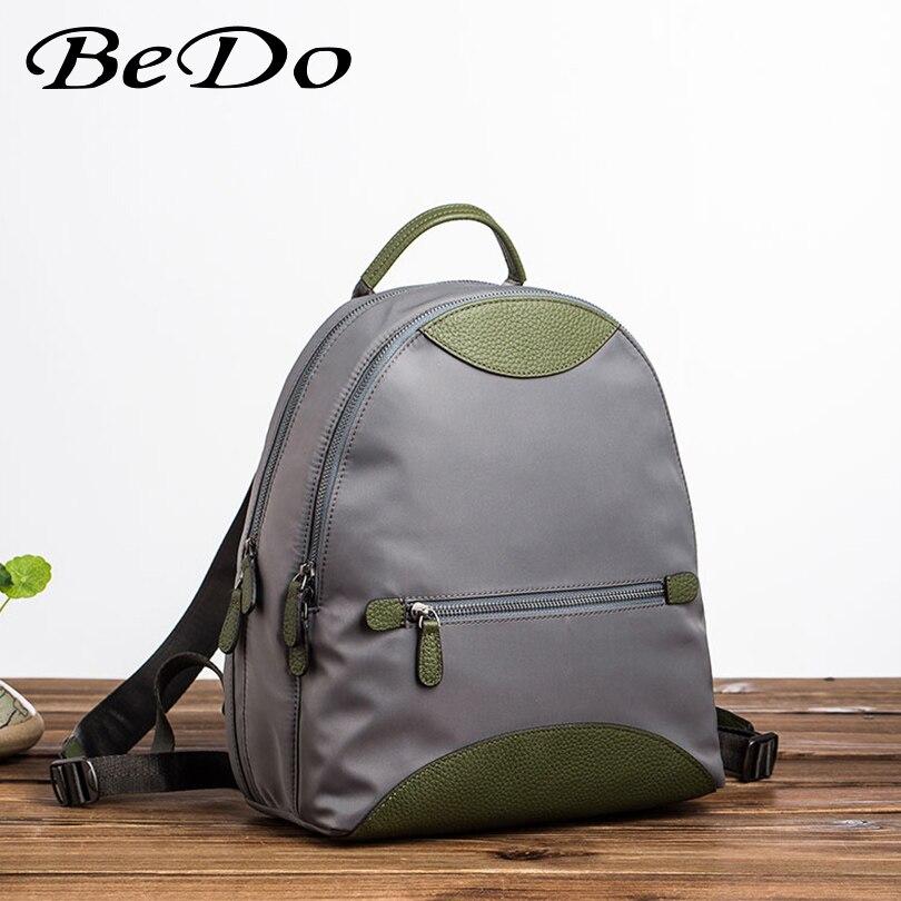 Модные брендовые рюкзаки для девочек, нейлон + натуральная кожа, повседневные сумки, школьный рюкзак для девочек подростков, прочный женский рюкзак - 3
