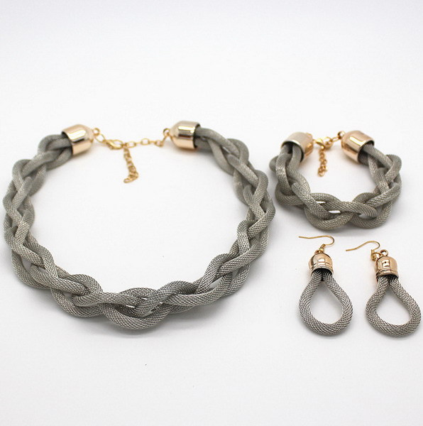 2015 New Fashion Bohemian Style Punk Fashion Simple Metal Braid Twist Chain Necklaces & Pendants Womans Necklace!