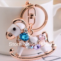 Free Shipping Cute Crystal Rhinestones Whirligig Horse Metal Bag Keychain Souvenir Personalized Gifts