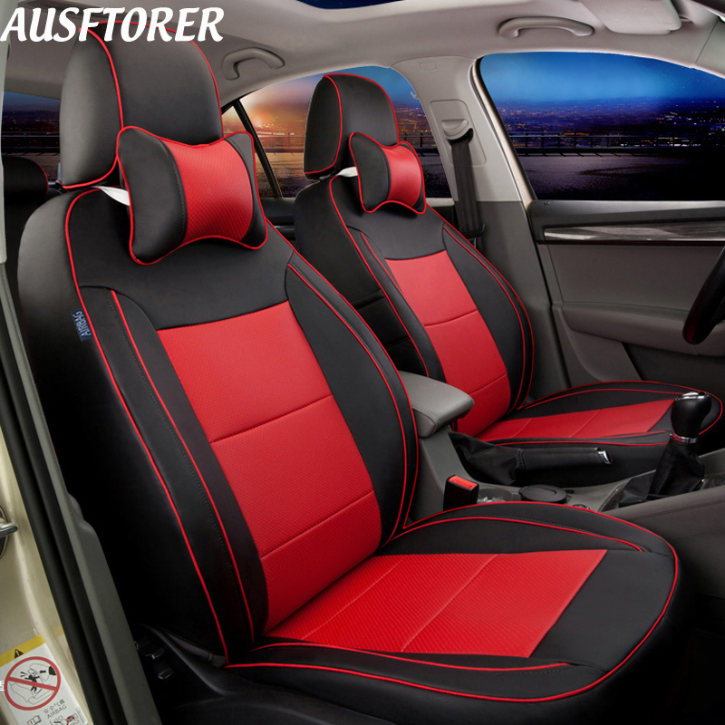 Ausftorer Cowhide Leather Cars Seat Covers For Subaru Forester 2004 2017 2016 2018 2019 Auto Cushion Cover Accessories