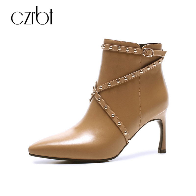 CZRBT Fashion Strap Women Spring Winter Boots High Heels 8cm Office Ladies Pointed Toe Genuine Leather Big Size Party Shoes new 2017 spring summer women shoes pointed toe high quality brand fashion womens flats ladies plus size 41 sweet flock t179