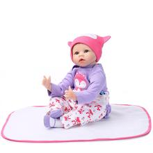 Nicery 22inch 55cm Reborn Baby Doll Magnetic Soft Silicone Lifelike Girl Toy Gift for Children Christmas Purple Fox