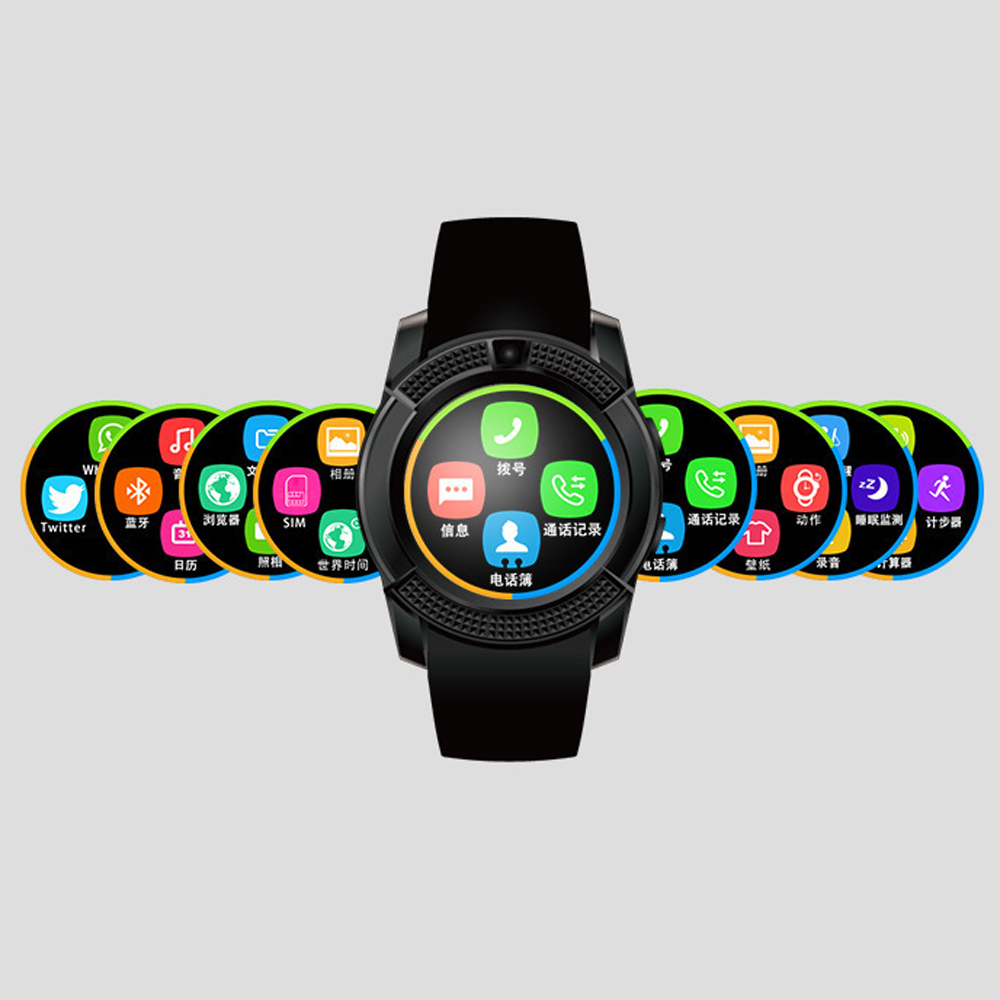 V8 Bluetooth Smart Watch Support SIM TF Card Clock Call Dial Men Women  Smartwatch For Android Phone Waterproof Smartphone