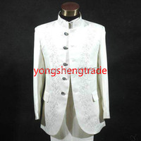 Hommes robe costumes chinois costume tunique chinois broderie blanc costume 3018 ( veste + pantalon )