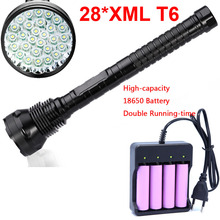 Super powerful 28 x XM-L T6 LED 45000 LM 5-Modes flashlight Torch lamp tactical light Large capacity battery 18650 26650