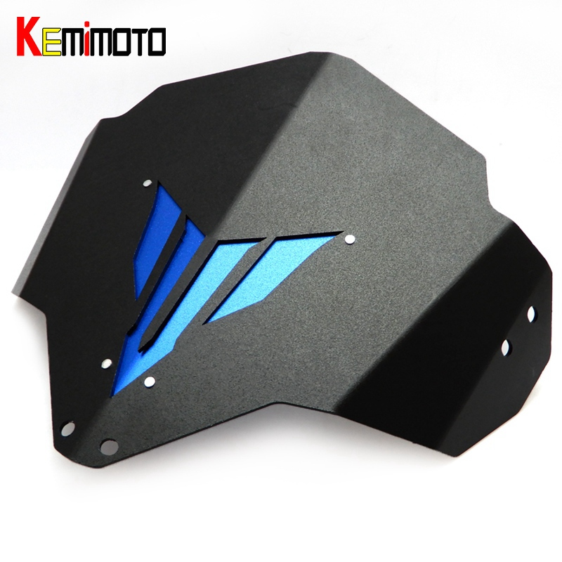 KEMiMOTO MT-03 MT 03 FZ03 Motorcycle Motorbike Windshield Windscreen Aluminum For Yamaha MT03 FZ-03 MT-25 2015 2016 With MT Logo for yamaha mt 03 2015 2016 mt 25 2015 2016 mobile phone navigation bracket page 1