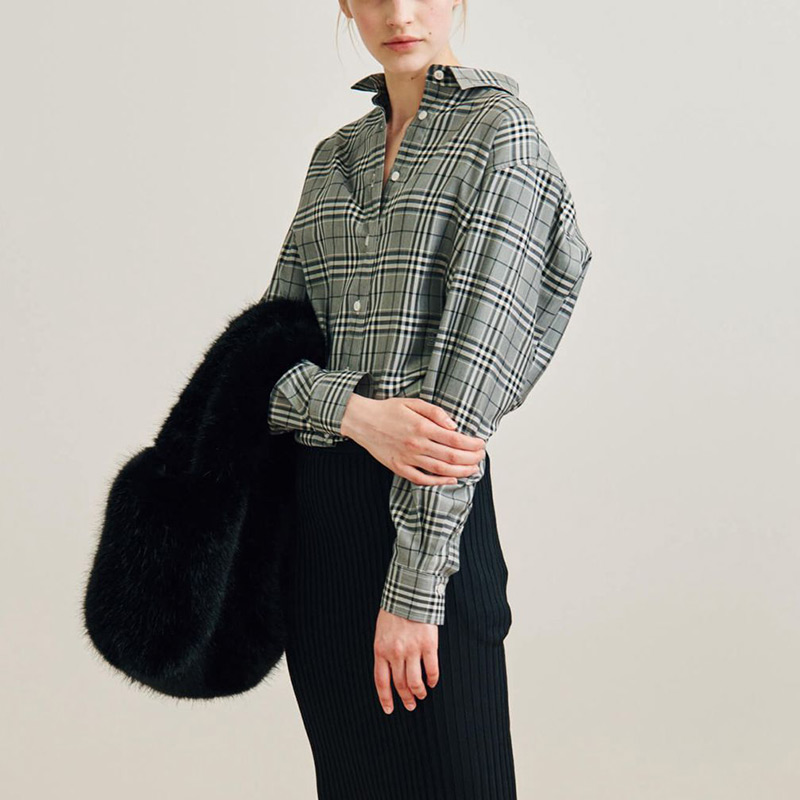 Cotton Contrast Checked Oversized Capri Blouse Top - 2019ss New Fashion Loose Fit Curved Hem Embroidered Monogram Shirt Top