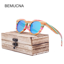 2017 New BEMUCNA  Wood Sunglasses Women Brand Designer  Sun Glasses Female Fashion Women Luxury Decoration Classic Eyewear