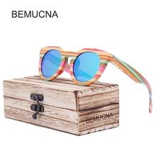 2017 New BEMUCNA  Wood Sunglasses Women Brand Designer  Sun Glasses Female Fashion Women Luxury Decoration Classic Eyewear