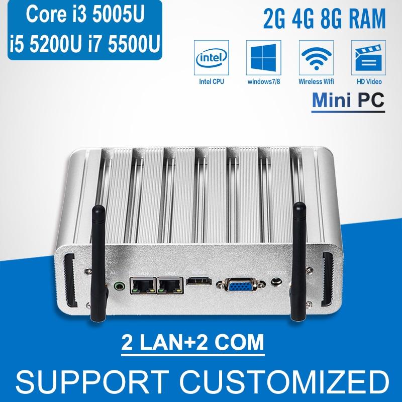 Mini PC Core i3 5005U Dual LAN 2 COM Windows 10 Mini Computer i5 5200U i7
