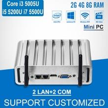 Мини-ПК Core i3 5005U двойной LAN 2 com Windows 10 мини-компьютер i5 5200U i7 5500U Barebone безвентиляторный A Computador офисные HTPC HDMI