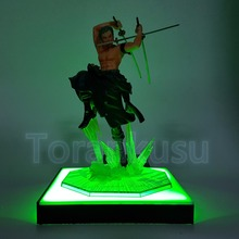 One Piece Action Figure Roronoa Zoro Gokutora Hunting LED Effect Base DIY Display Toy Anime One-Piece Zoro DIY135 100% original banpresto memory figure collection figure roronoa zoro from one piece