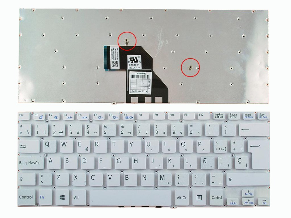 New US Keyboard for Lenovo Ideapad 100S-11IBY White Without Frame Win8