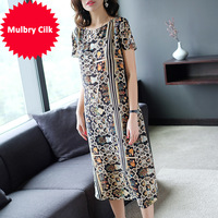 High Quality R6528 2018 Summer New Round Neck Real printed A Word Clothes Longuette Recruit Agent Women Vestidos