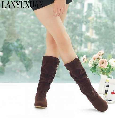Big size 34-46 Autumn winter style high women woman femininas mid-calf  boots botas mujer chaussure femme  casual  shoes 662 купить дешево онлайн