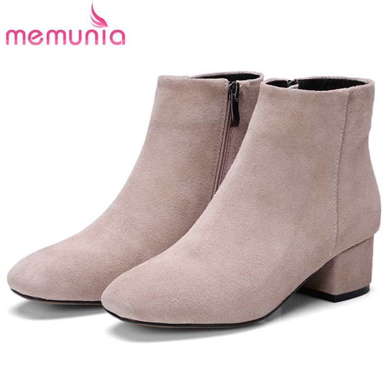 MEMUNIA Cow suede leather shoes woman ankle boots for women med heels shoes fashion womens boots party big size 34 43-in Ankle Boots from Shoes    1