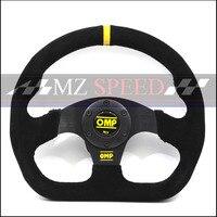 13inch For OMP style Steering Wheel Suede Leather black yellow line Steering Wheel Flat Game Steering Wheel